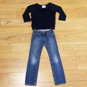 Girls Abercrombie kids top and gap jeans.